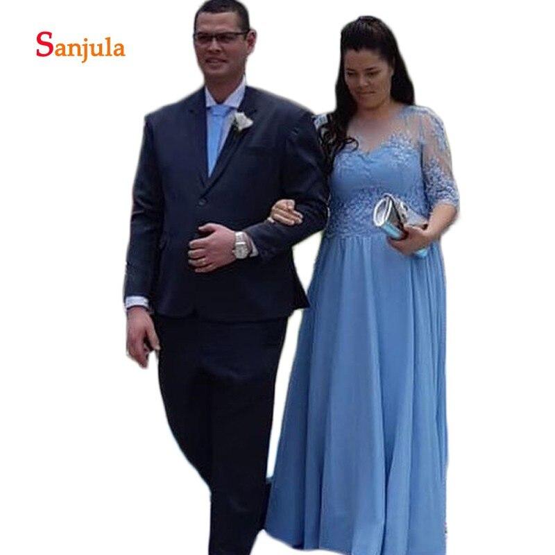 Demi manches grande taille mère des robes de mariée voir si o-cou a-ligne bleu en mousseline de soie marié mère robes mutter der braut D375
