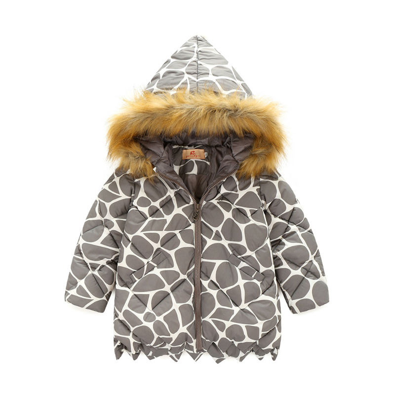 2017 new autumn winter Outerwear leopard print girls coat children fur collar jackets warm kids clothes snowsuit kids coat 2017 winter new clothes to overcome the coat of women in the long reed rabbit hair fur fur coat fox raccoon fur collar