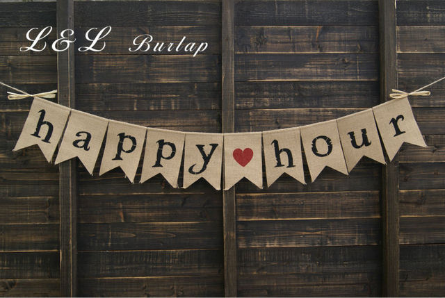Happy Hour Bunting Wedding Banner Photo Prop Bridal Shower Country