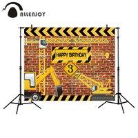 Allenjoy Background For Birthday Photograph Construction Party Banner Decor Brick Wall Backdrop Dump Truck Boy Photo