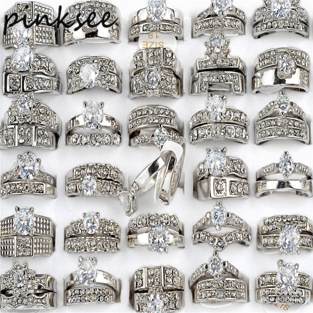 PINKSEE 10pcsbag Mix Styles CZ Wedding Rings for Women Men Silver