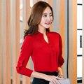 Новый Повседневная Красный Белый Женщины Блузка Дамы Твердые Элегантный V-образным Вырезом Блузки Топы Женские С Длинным Рукавом ПР Офис мода носить Рубашки