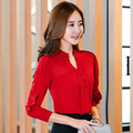 New Casual Red White Women Blouse Ladies Solid Elegant V-neck Blouses Tops Female Long Sleeve OL Office fashion wear  Shirt