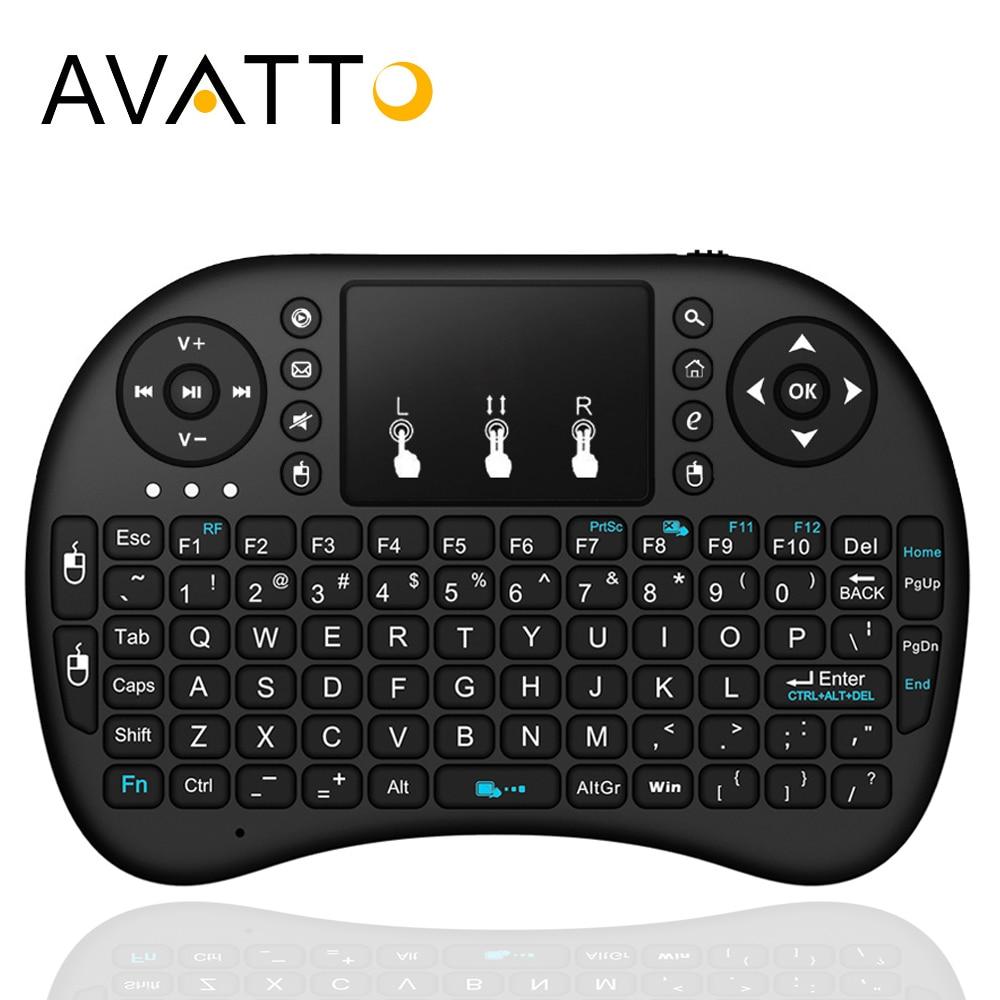 [AVATTO] Original i8 mini Gaming Tastatur 2,4G Wireless TouchPad hintergrundbeleuchtung Air mäuse für PC, Smart TV, Laptop, iPad, Android Box