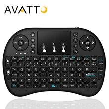 AVATTO английская, русская, иврит оригинальная i8 Мини игровая клавиатура с 2,4 ГГц Беспроводная сенсорная панель Air mouse для Smart tv, Android Box