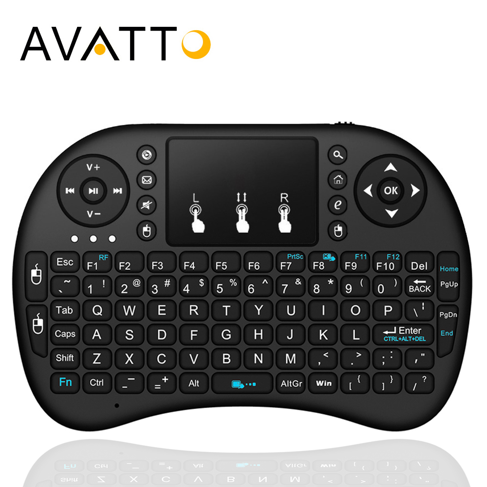 AVATTO English,Russian,Hebrew Original i8 Mini Gaming Keyboard With 2.4GHz Wireless TouchPad Air Mouse for Smart TV,Android Box