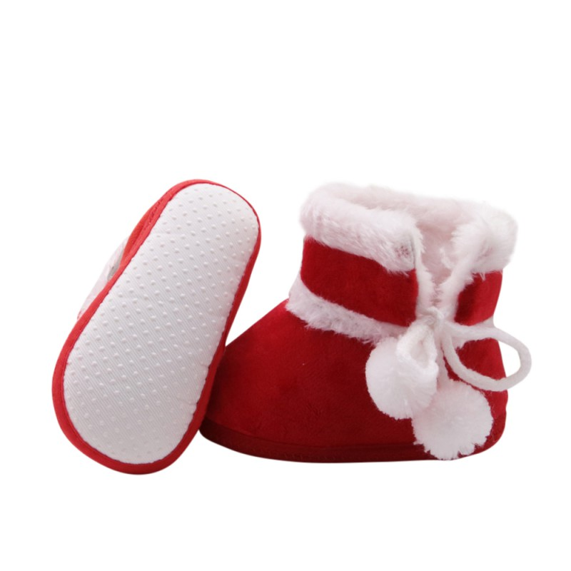 Baby Girl Boy Cute Warm Shoes Christmas Santa Claus Red Shoes Infant  Prewalker Casual Newborn Baby Shoes 2017 Tags  f96c4b945