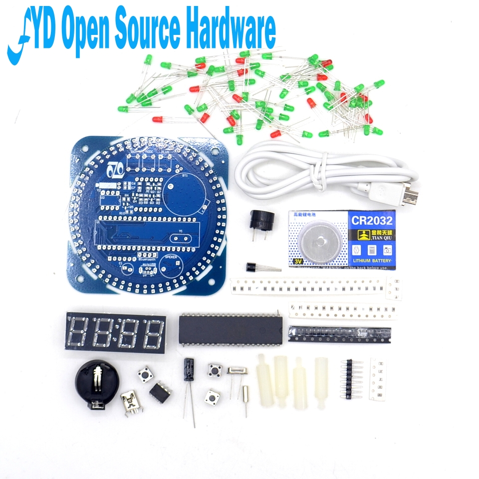 ds1302 accuracy - DS1302 clock  18b20 temperature display alarm clock function Rotating LED electronic clock kit