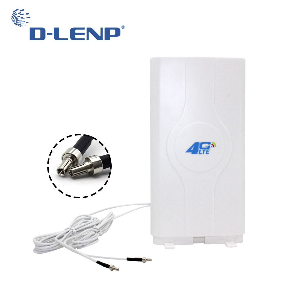 Dlenp 88dBi 4G LTE MIMO Antenna Booster Panel Antenna 700-2600Mhz With 2-TS9 Male Connector with 2 meters Cable image