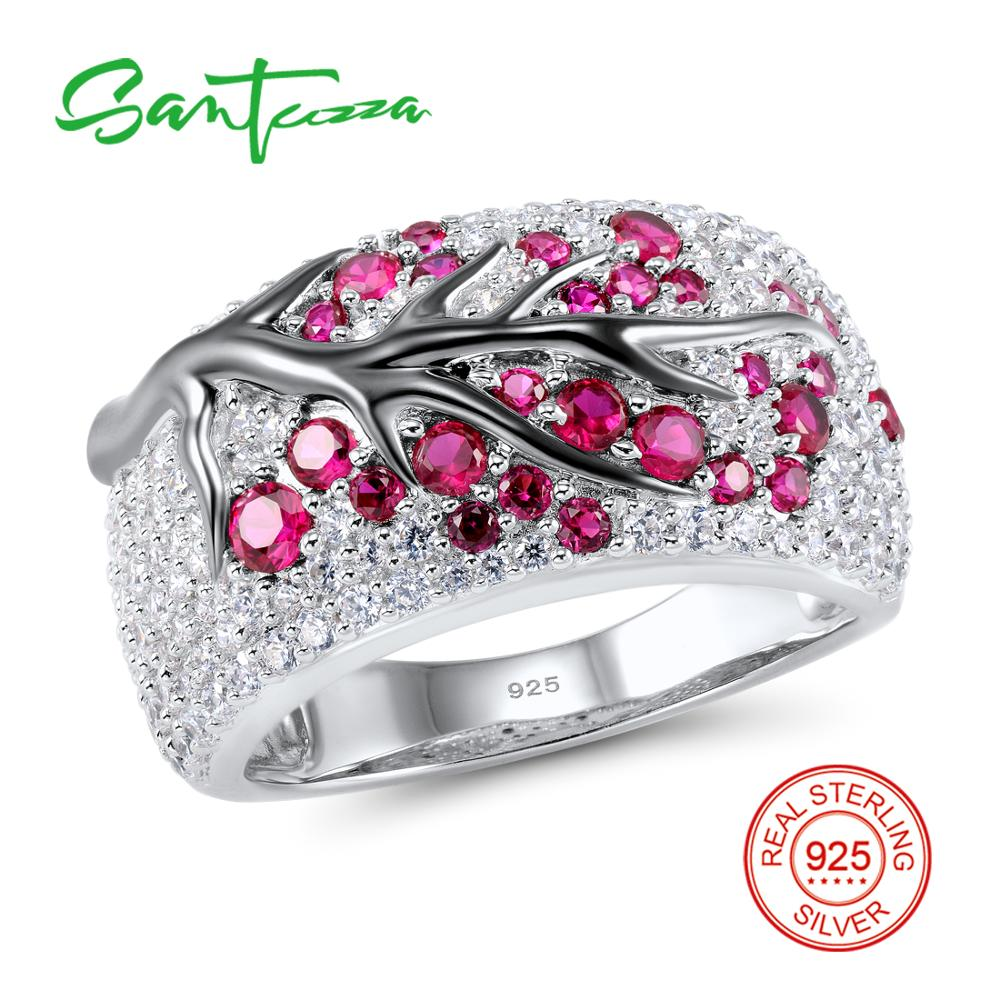 Anillo de plata para Mujeres creado-Rubies gema Stone Cubic Zirconia CZ Stone Ladies Ring 925 Sterling Silver party joyería de moda