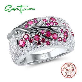 SANTUZZA серебряное кольцо для женщин создано рубинами драгоценный камень кубический цирконий женское кольцо 925 пробы Серебряная вечерние мод...