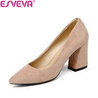 ESVEVA 2018 נשים משאבות פלוק עקב גבוה מרובעת סגנון מתוק גודל נעלי נשות אביב בוהן מחודד רדוד אלגנטי סתיו 34-43