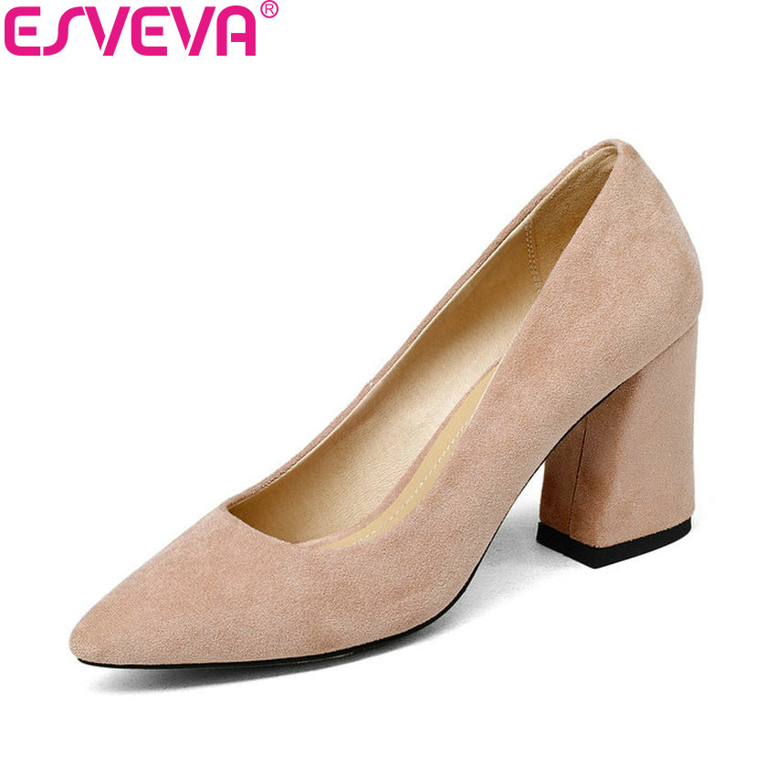 ESVEVA 2018 Women Pumps Sweet Style Square High Heel Flock Pointed Toe Spring and Autumn Elegant Shallow Ladies Shoes Size 34-43 esveva 2017 ankle strap high heel women pumps square heel pointed toe shoes woman wedding shoes genuine leather pumps size 34 39