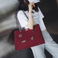 Retro Fashion Women Handbags 2018 New Quality Woolen Badge Women bag Chain Tote Shoulder Messenger Bag Big Messenger bags .5528