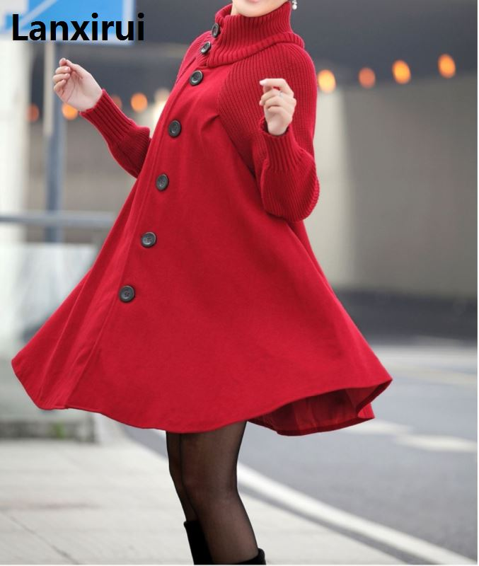 Image 5 - Woman Single Breasted  Long Sleeve Woolen Coats Lady Casual A  Line Long Coats Winter Warm OutwearWool & Blends   -