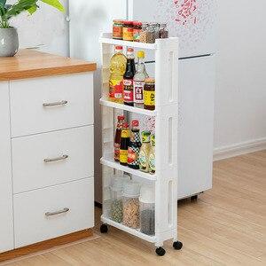 Image 1 - The Goods For Kitchen Storage Rack Fridge Side Shelf 2/3/4 Layer Removable With Wheels Bathroom Organizer Shelf Gap Holder
