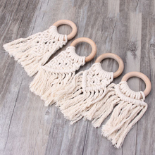 Baby Wooden Teethers Wood Ring Cotton Tassel Teether For Massage Teeth Rodent Te