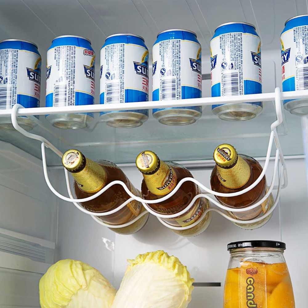 OTHERHOUSE Fridge Organizer Kitchen Storage Rack Shelf Refrigerator Beer Bottle Rack Wine Holder Cupboard Organizer Shelves