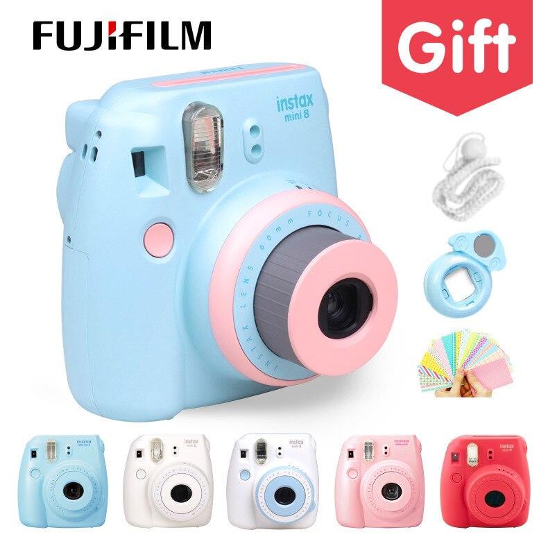 Véritable Compact Fuji Fujifilm Instax Mini 8 Caméra Instantanée Impression Ordinaire Film Instantané Tir Photos blanc rouge violet rose
