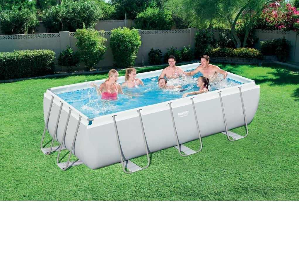 56442 Bestway 404*201*100cm Rectangular Super Strong Steel Tube Framing  Pool Above Ground Swimming Pool with Sand Filter Ladder