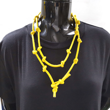 YD&YDBZ New Yellow Leather Necklace For Women 2019 Fashion Pendant Long Chain Handmade Jewelry Punk Gothic Choker