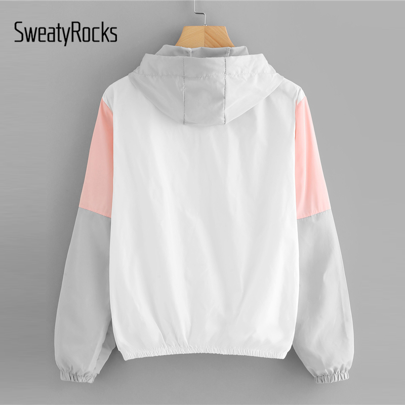 SweatyRocks Women Autumn Fashion Hooded Two Tone Windbreaker Jackets Zipper Casual Outwear Coats Color Block Drawstring Jacket 1