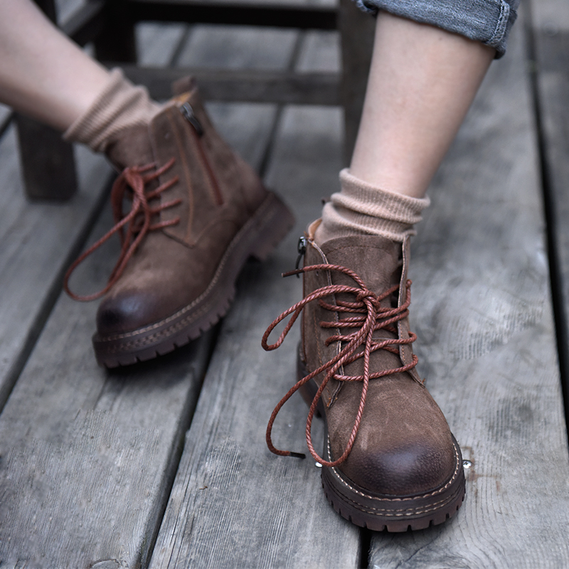 Artmu Original 2019 New Leather Handsome Thick Sole Women Boots 5-hole Martin Boots Handmade Casual Ankle Boots 166-51Artmu Original 2019 New Leather Handsome Thick Sole Women Boots 5-hole Martin Boots Handmade Casual Ankle Boots 166-51