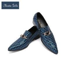 Christia Bella Genuine Leather Men Dress Shoes Luxury Men s Business Shoes  Classic Gentleman Blue Wedding Shoes f8200a1929c3