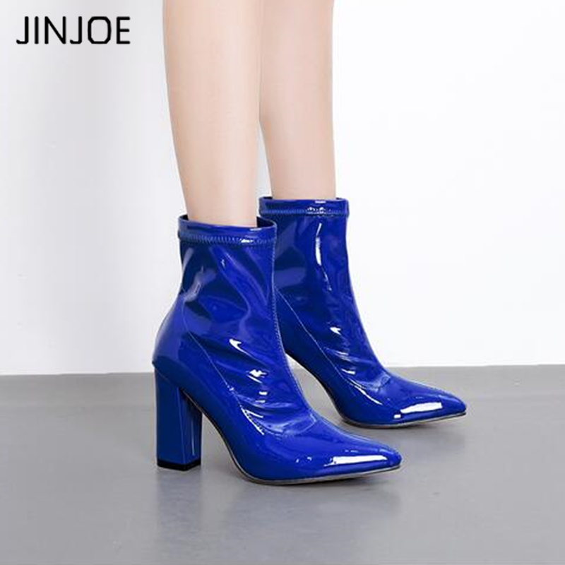 JINJOE Patent Leather boots Women Vinyl Glossy Leather Bling Motorcycle boots Ankle Boots Thick High Heel Bootie Pointed Toe hongyi women motorcycle biker ankle boots glossy leather rhinestone crystal ridding bootie bow butterfly knot shoes thick heels