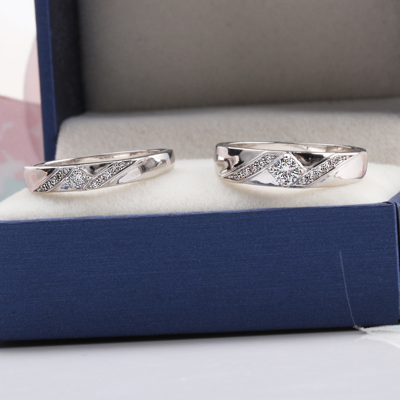 925 Silver Lover Couples Ring Sets Classical Cubic Zirconia Wedding Ring for Women Men Zircon Jewelry in Engagement Rings from Jewelry Accessories