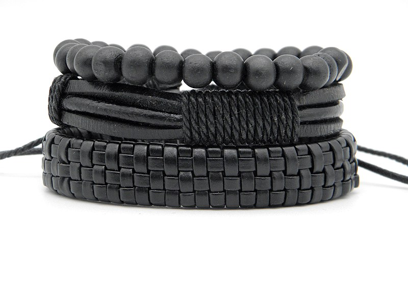 Stylish leather Braid Hemp bracelets Men's Women's Handmade Wood Beads leather Wrap Combined bracelets Jewelry Gifts 3pcs/set 13