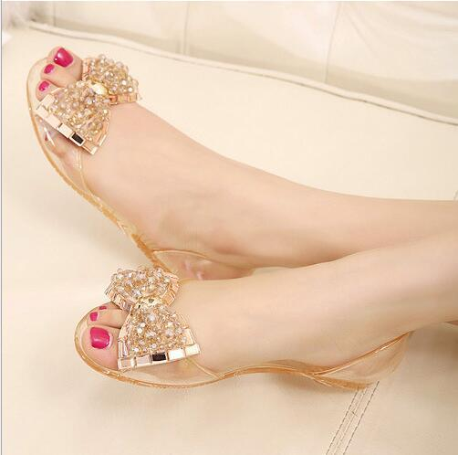 0803c37d11a5a Eilyken Women Sandals Summer Style Bling Bowtie Jelly Shoes Woman Casual  Peep Toe Sandal Crystal Flat Shoes Size 35-40