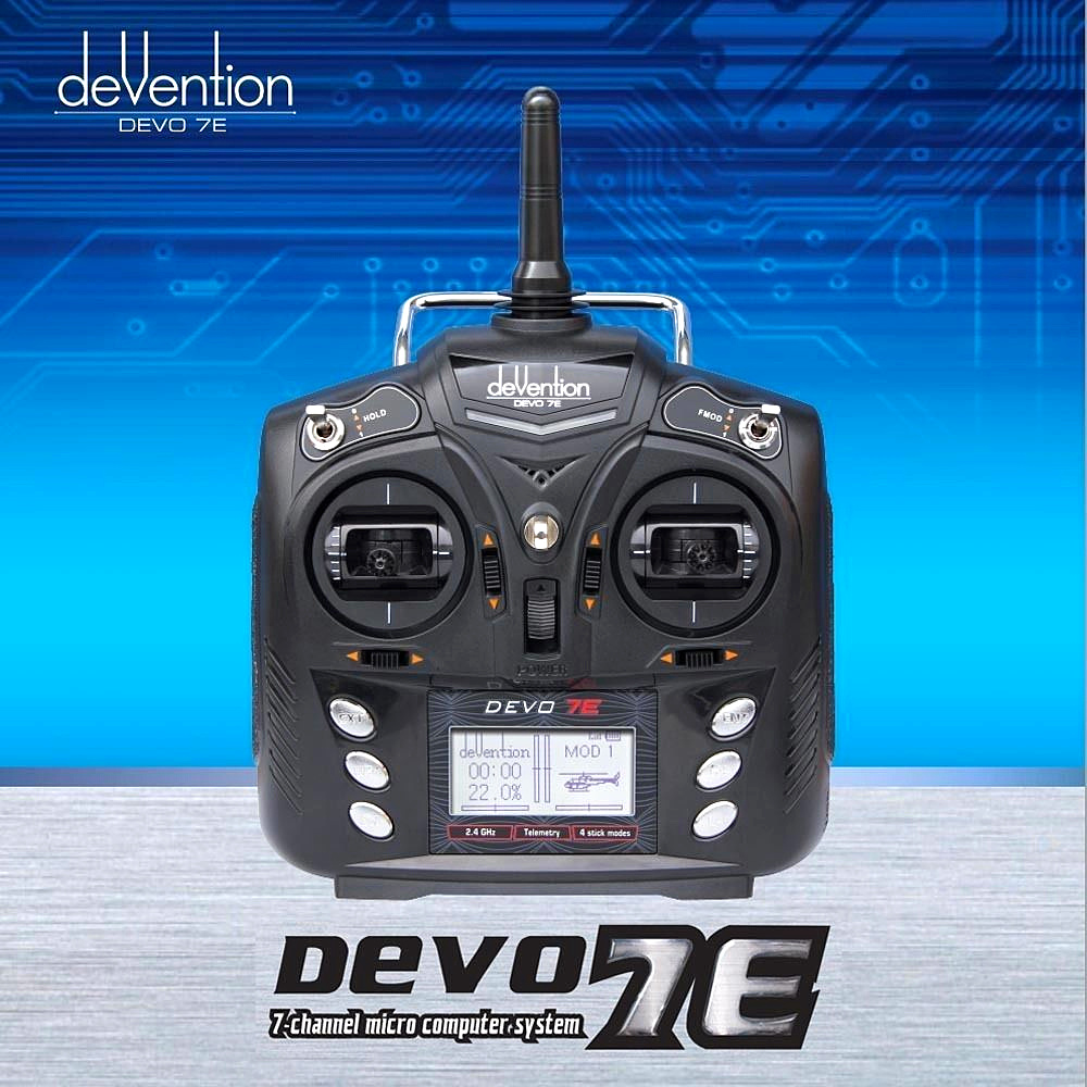 Walkera DEVO 7E 2.4G 7CH DSSS Radio Control Transmitter for RC Helicopter Airplane Model 2 walkera aluminum case for devo f12e fpv radio 5 8ghz transmitter silver
