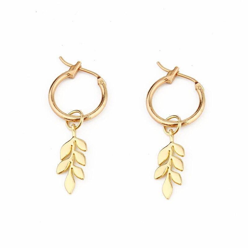 1 Para Europäischen Neue Trend Niedliche Blätter Hoop Ohrringe Anhänger Gold Farbe Dreidimensionale Blätter Ohrringe Als Partei Jewelrye531-t2