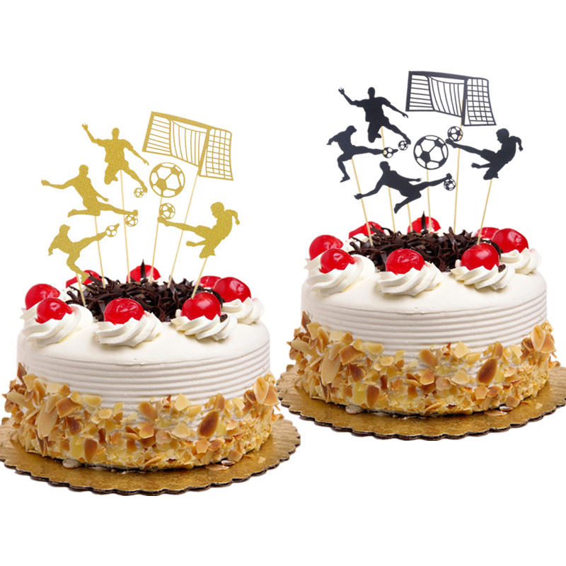 Party Eventdekoration 1Set Cake Toppers Football Happy Birthday Wedding Cupcake Topper Flags X Mobel