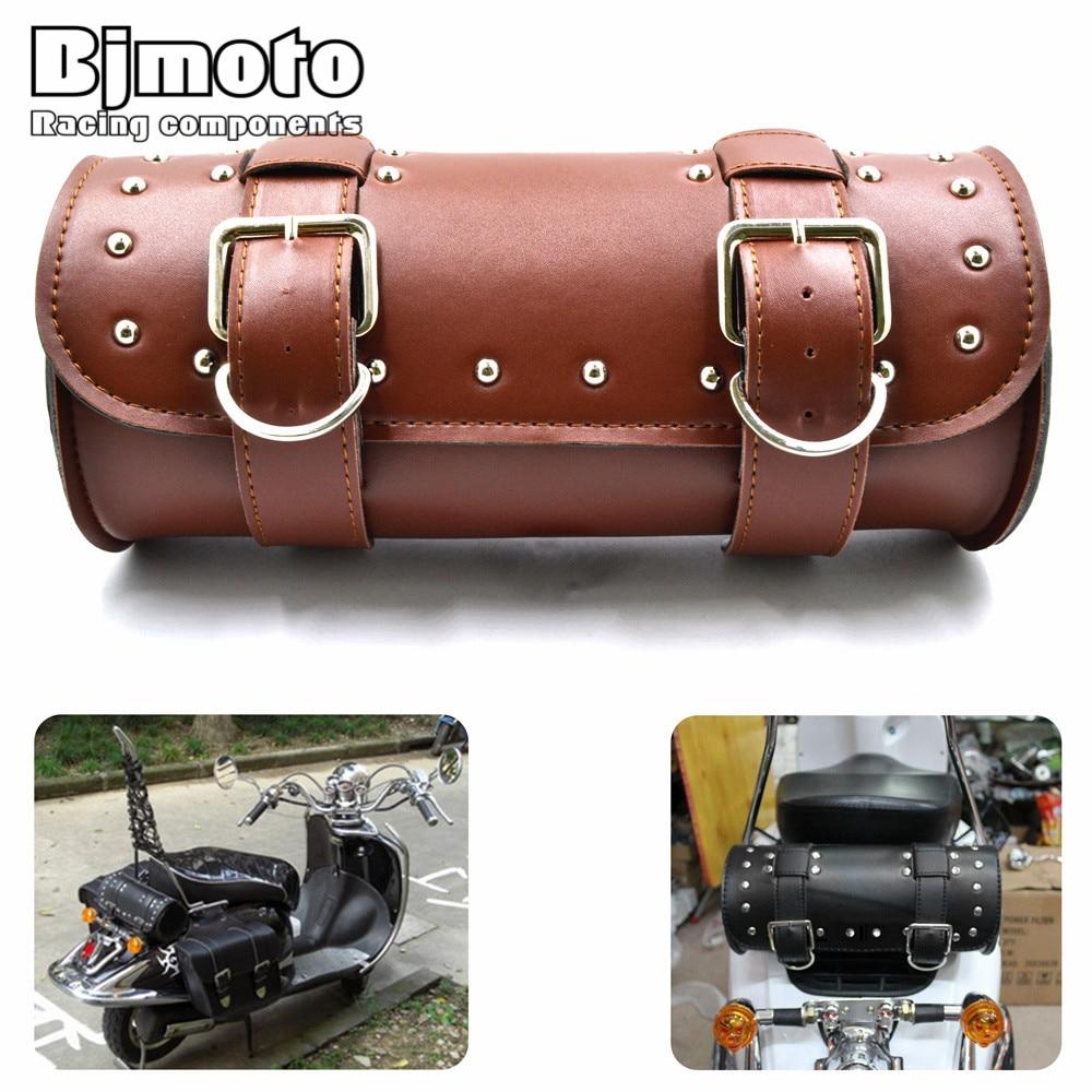 BAG-003  Motorcycle Bag Moto Saddle Bags PU Leather Barrel Side Luggage Tool Bag for Harley Chopper Bobber Cafe Racer