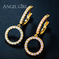 Angel Girl fashion jewelry Pave CZ Crystals Round Circle Luxury Drop Earrings for women Wedding gift christmas gift Female