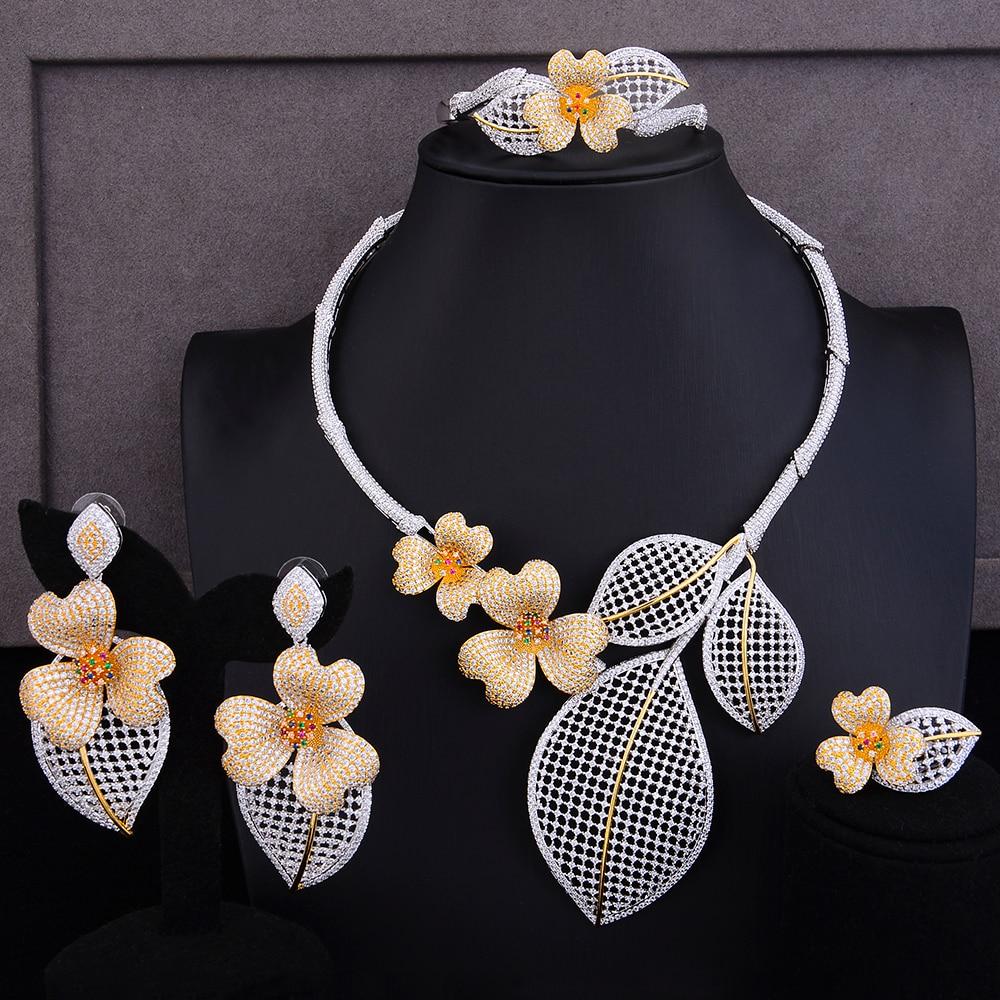 SisCathy 3 トーンビッグステートメントの花の宝石セット女性ネックレス/イヤリング/ブレスレット/リングウェディングブライダルジュエリー検索 2019  グループ上の ジュエリー & アクセサリー からの ジュエリーセット の中 1