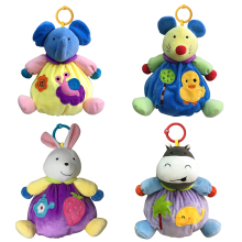 4 styles Animals Baby Plush Toys soft Elephant Calm Doll Towel Baby Toys With BB Ring Plush Rattles Toys gift Factory Wholesale