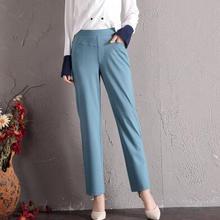 Весенние летние резинка на талии прямые брюки для женщин Плюс Размер повседневные капри Высокая талия 12 сплошной цвет зеленый серый бежевый jfe0801
