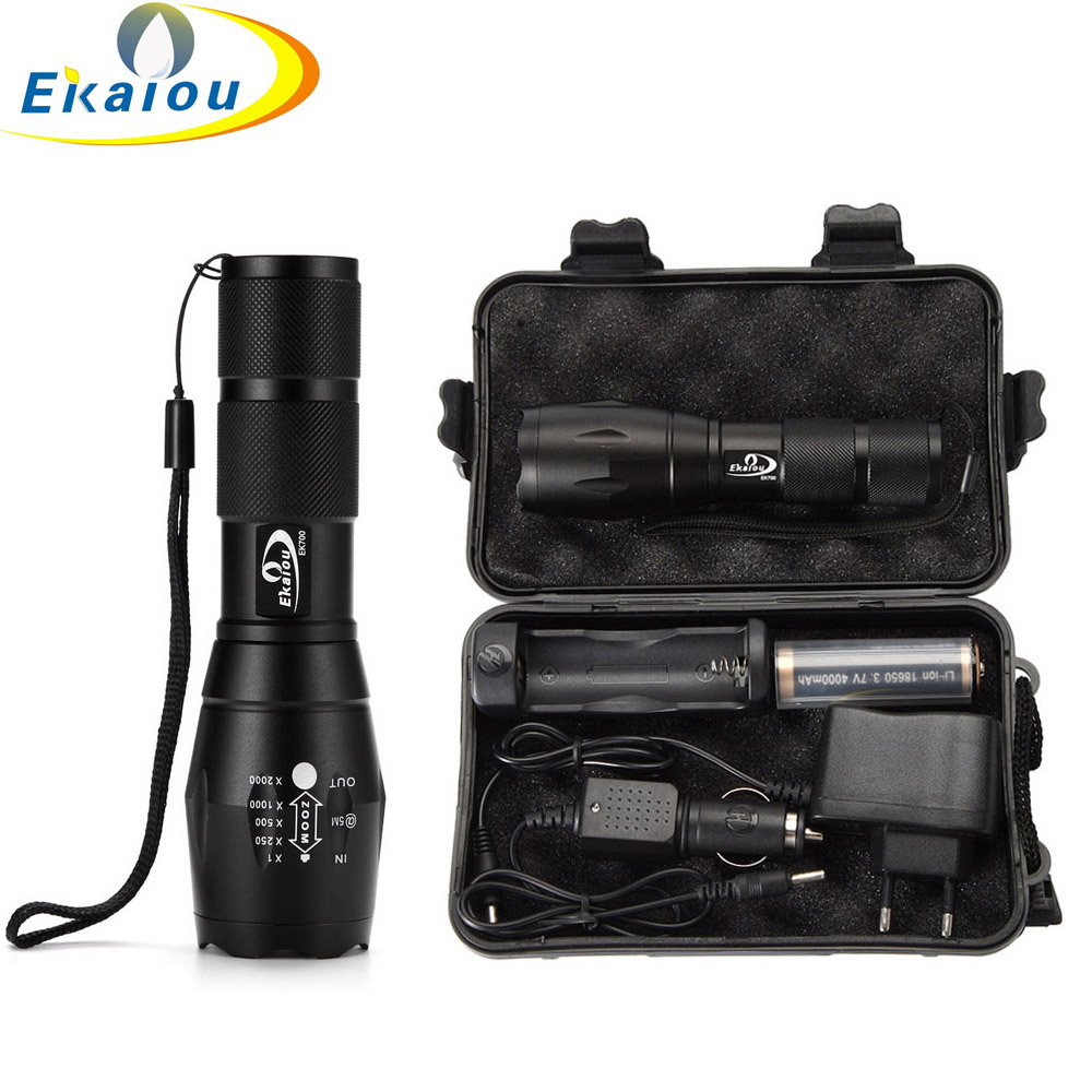 3800 lumens Flashlight CREE T6 LED Zoomable Zoom Flashlight Tactical Torch + 18650 battery & Charger Gift Boxes Люмен