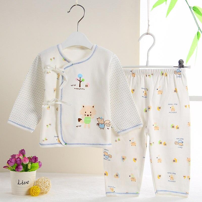 (2pcs/set) 100% Cotton Cartoon Underwear Baby Clothing Set Boy/Girl Infant Clothes Tops+Pants 3M 6M T1