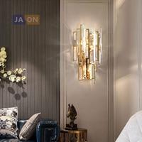 E14 LEVOU Pós-moderna de Ouro de Cristal de Aço Inoxidável Lâmpada LED LEVOU Luz lâmpada de Parede Arandela Luz de Parede Para O Quarto Corredor
