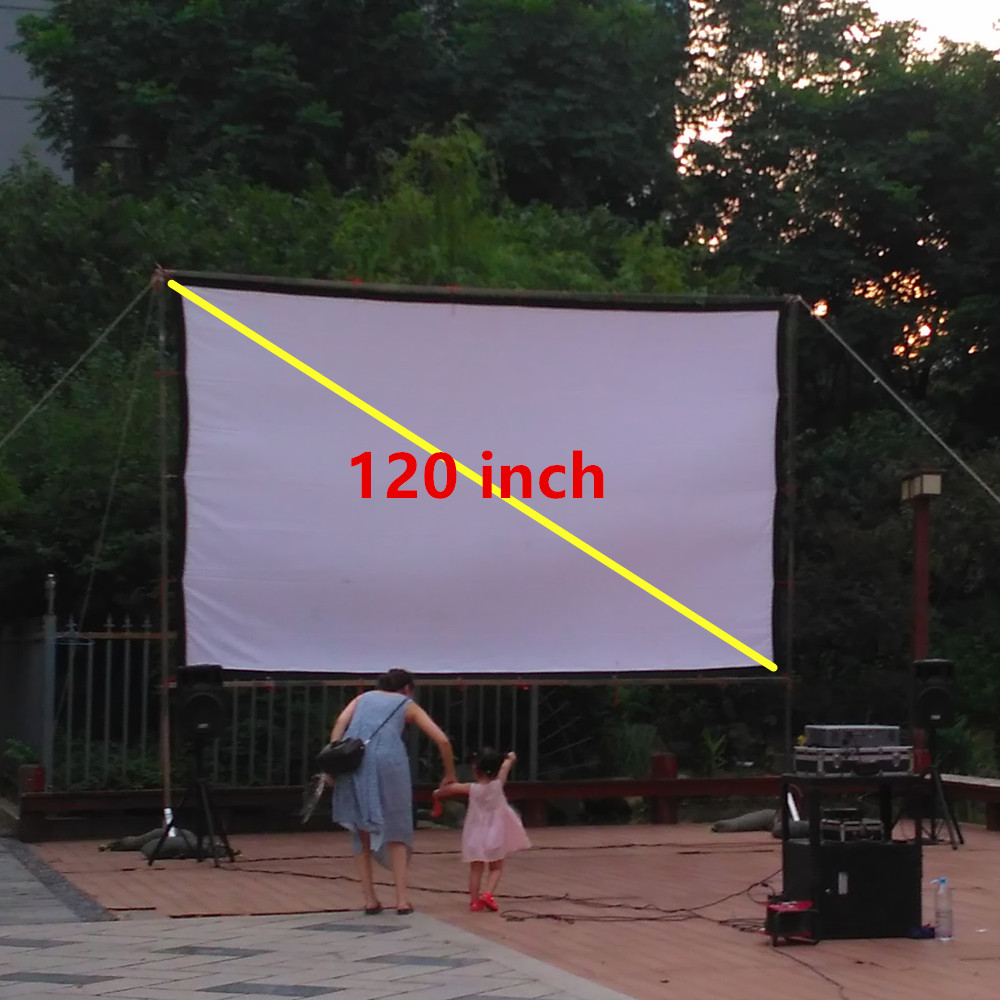"""180/"""" 16:9 Canvas Fabric Portable Fast Fold Outsides Projector Projection Screen"""