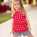 Conjunto roupa de crianças meninas de Verão Chiffon polka dot camisola Moda jeans calças Meninas Definir Marca de roupas Casuais Crianças roupas
