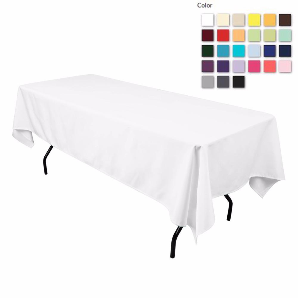 HK DHL Stain Feel 152*260cm Polyester Rectangle Tablecloth White for Wedding, 5/Pack ...