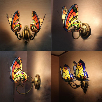 light butterfly wall lamps color glass creative lamp bedroom bedside Nightlight European garden lighting bar LU830499