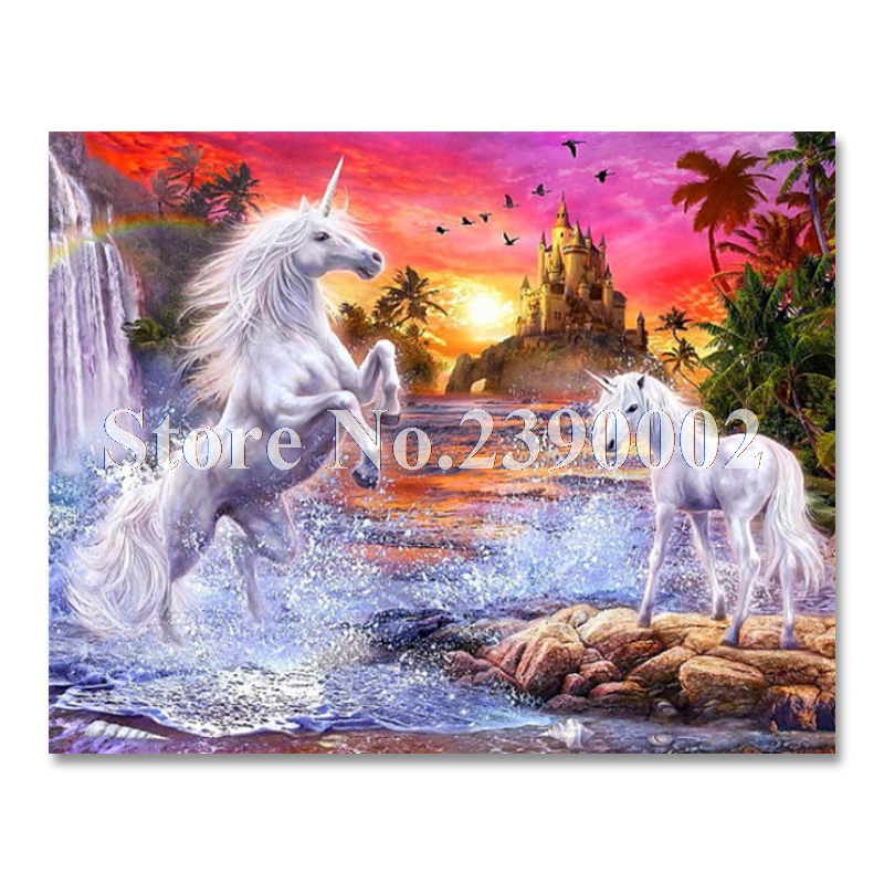 Diy Diamond Painting Landscape Horse Pictures Rhinestones Diamond Mosaic Unicorn Full Diamond Embroidery Cross Stitch Kits