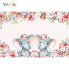Yeele Pink Elephant Flower Baby Shower Backdrop Children Birthday Party Photography Background Custom Vinyl For Photo Studio