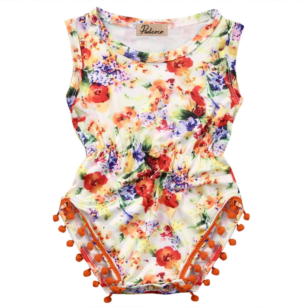 2016 newborn infant baby Girls floral romper Jumpsuit Sunsuit Outfit Clothes newborn clothing baby girl clothes baby rompers newborn infant baby girl clothes strap lace floral romper jumpsuit outfit summer cotton backless one pieces outfit baby onesie